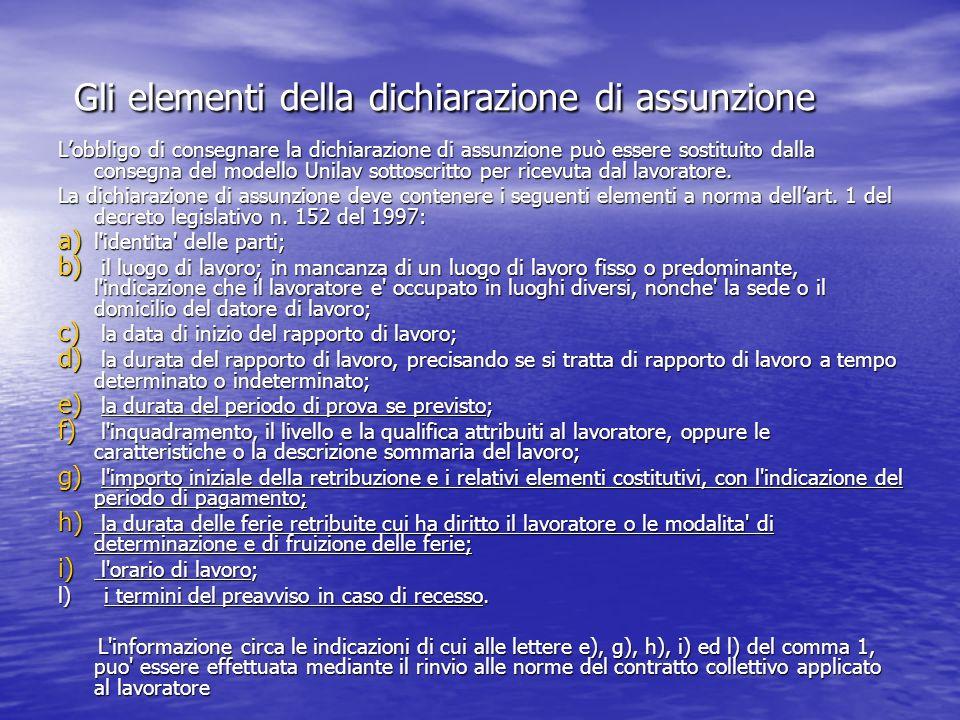 Gli elementi della dichiarazione di assunzione