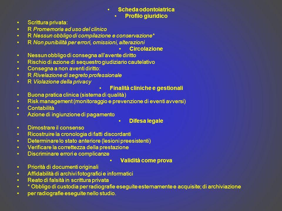 Finalità cliniche e gestionali