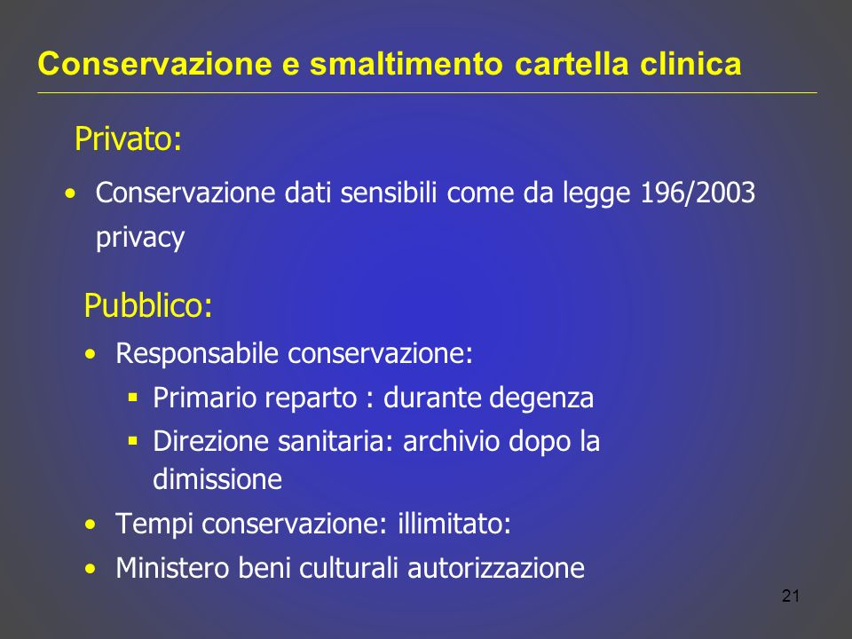 Conservazione e smaltimento cartella clinica