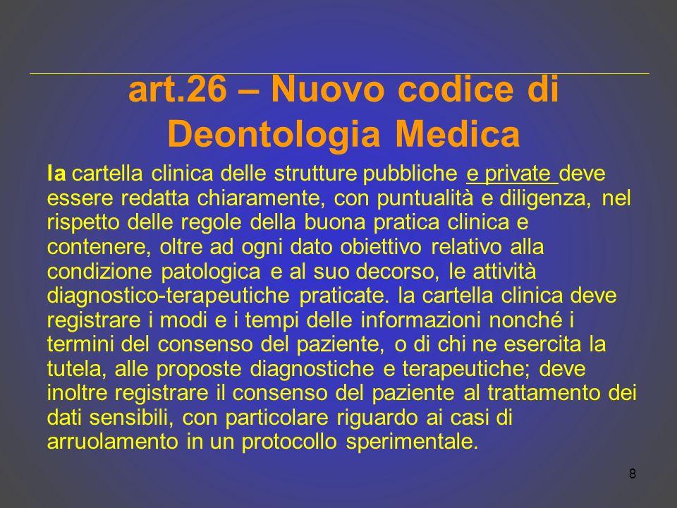 art.26 – Nuovo codice di Deontologia Medica