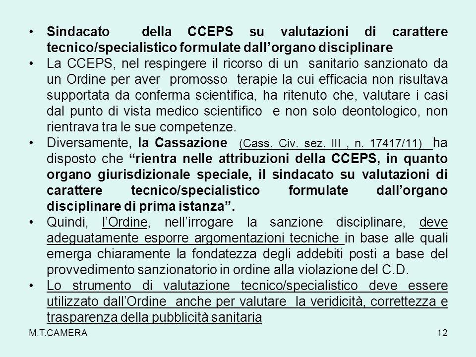 Sindacato della CCEPS su valutazioni di carattere tecnico/specialistico formulate dall'organo disciplinare