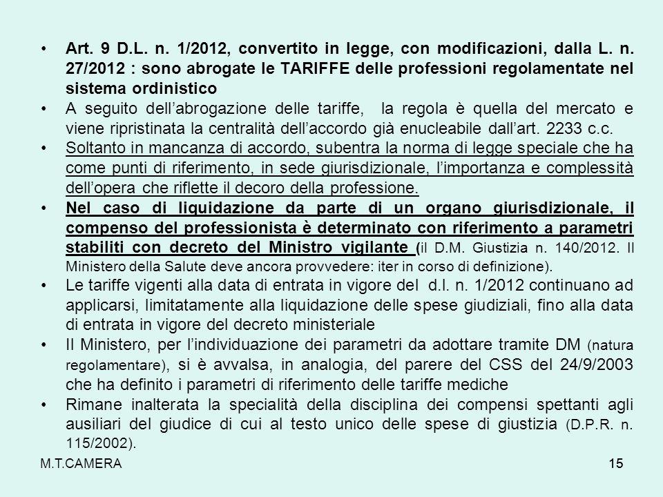 Art. 9 D.L. n. 1/2012, convertito in legge, con modificazioni, dalla L. n. 27/2012 : sono abrogate le TARIFFE delle professioni regolamentate nel sistema ordinistico