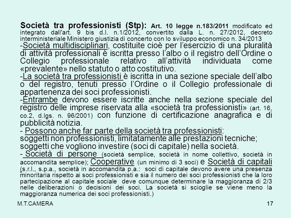 - Possono anche far parte della società tra professionisti: