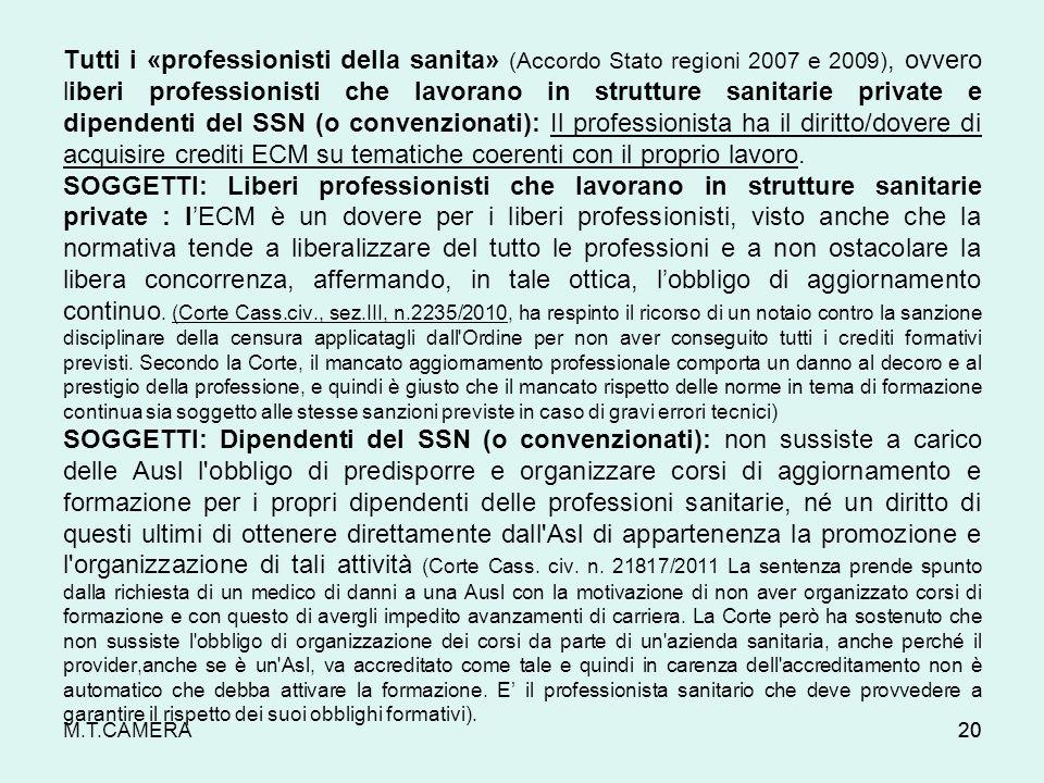 Tutti i «professionisti della sanita» (Accordo Stato regioni 2007 e 2009), ovvero liberi professionisti che lavorano in strutture sanitarie private e dipendenti del SSN (o convenzionati): Il professionista ha il diritto/dovere di acquisire crediti ECM su tematiche coerenti con il proprio lavoro.