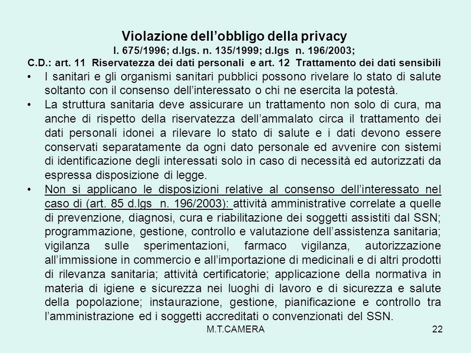 Violazione dell'obbligo della privacy