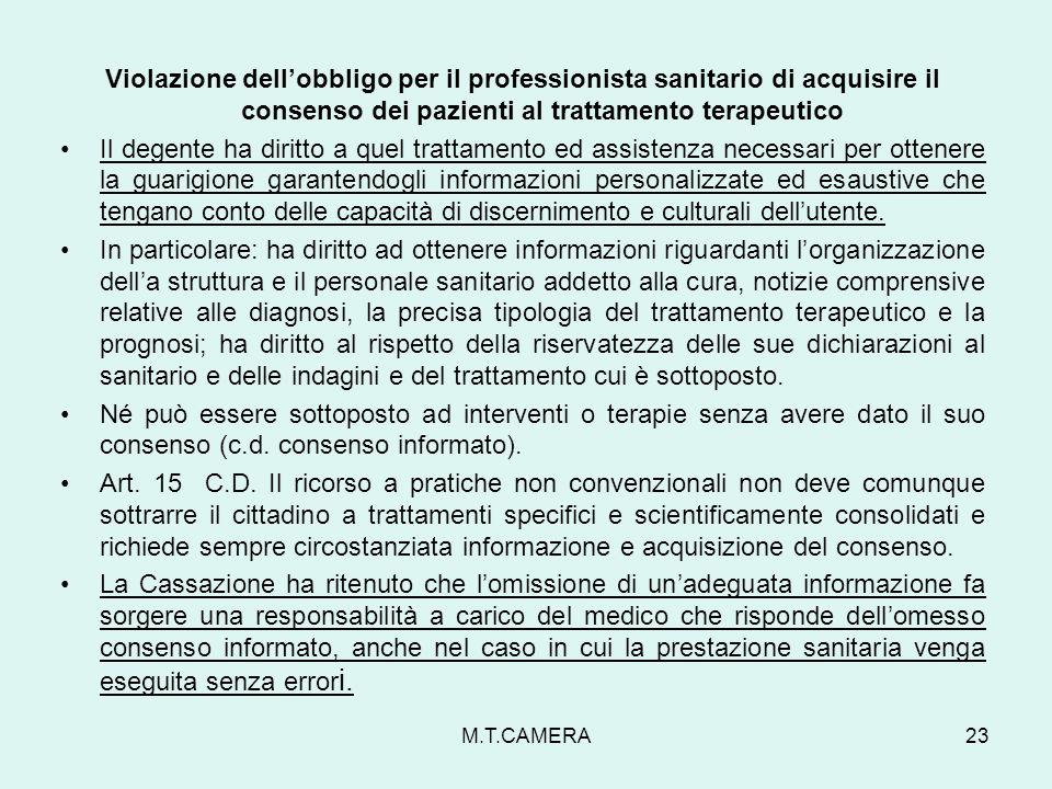 Violazione dell'obbligo per il professionista sanitario di acquisire il consenso dei pazienti al trattamento terapeutico