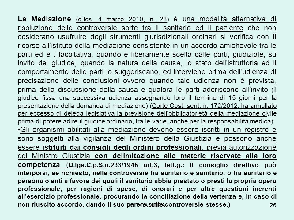 La Mediazione (d. lgs. 4 marzo 2010, n