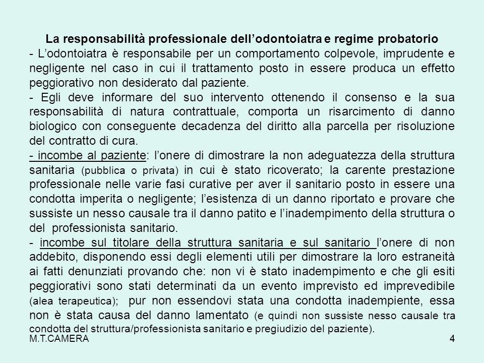 La responsabilità professionale dell'odontoiatra e regime probatorio