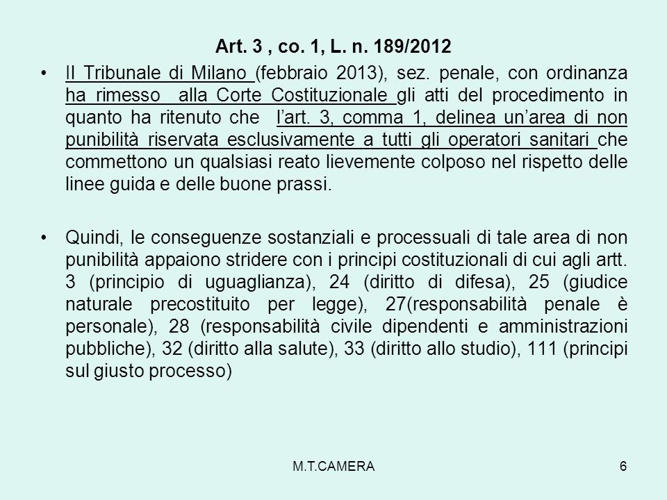 Art. 3 , co. 1, L. n. 189/2012