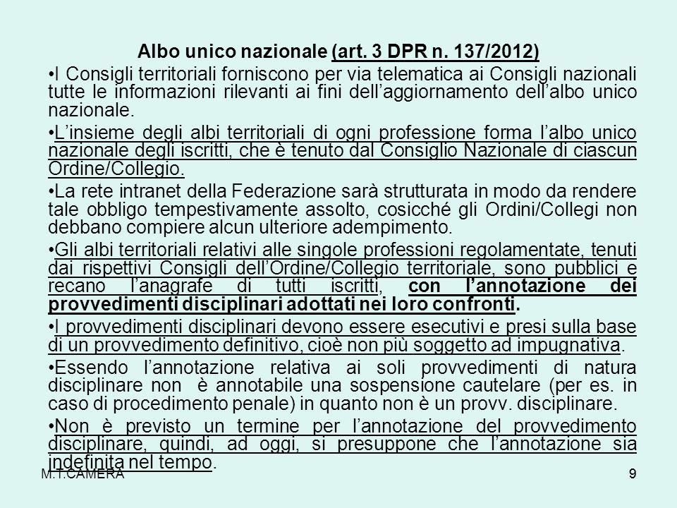 Albo unico nazionale (art. 3 DPR n. 137/2012)