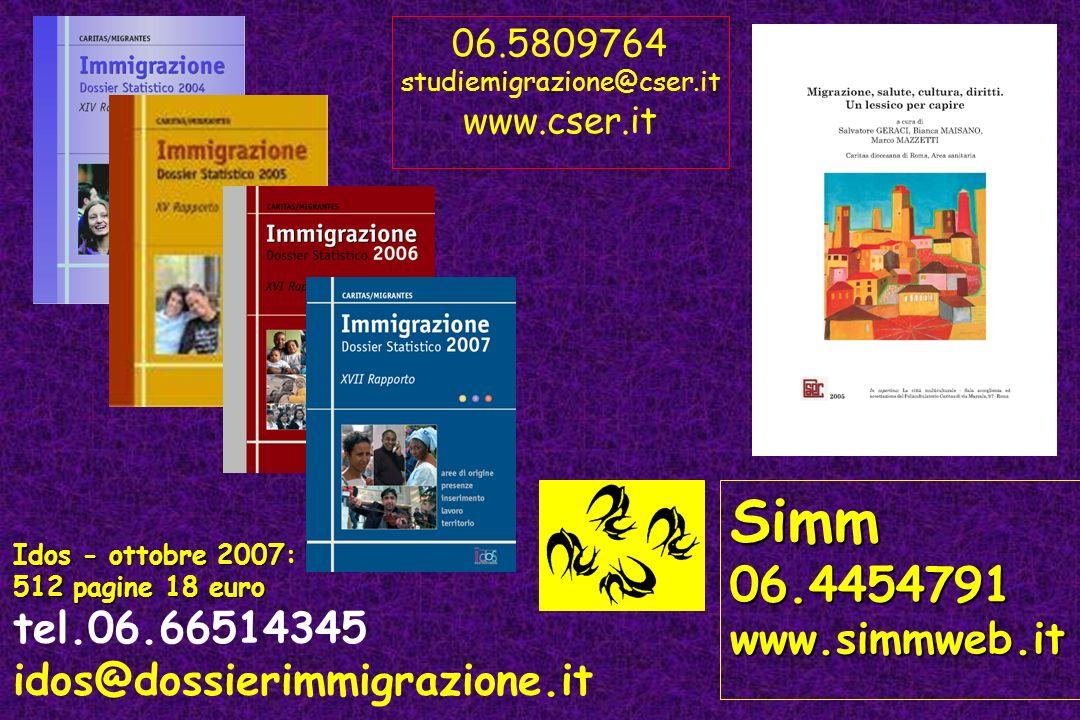 06.5809764 studiemigrazione@cser.it. www.cser.it. Simm. 06.4454791. www.simmweb.it. Idos - ottobre 2007: