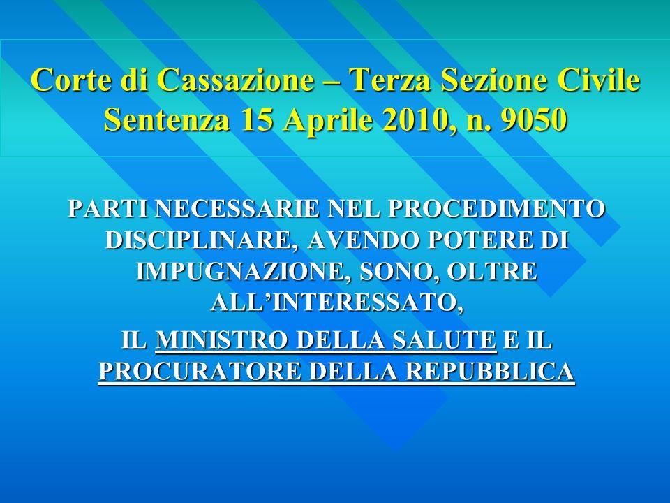 Corte di Cassazione – Terza Sezione Civile Sentenza 15 Aprile 2010, n