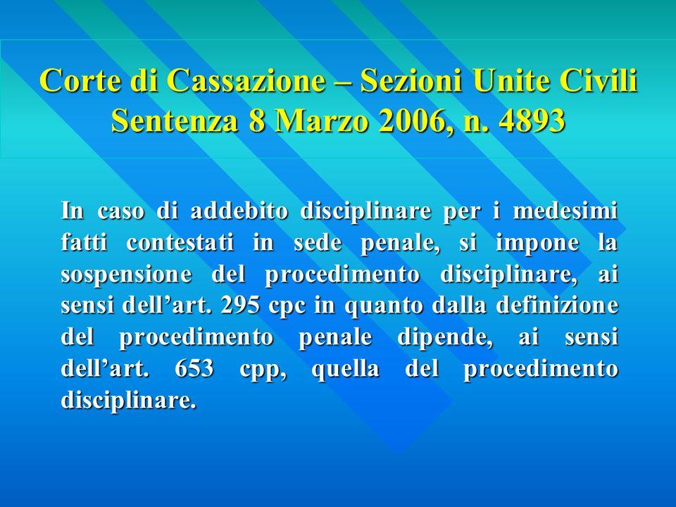 Corte di Cassazione – Sezioni Unite Civili Sentenza 8 Marzo 2006, n