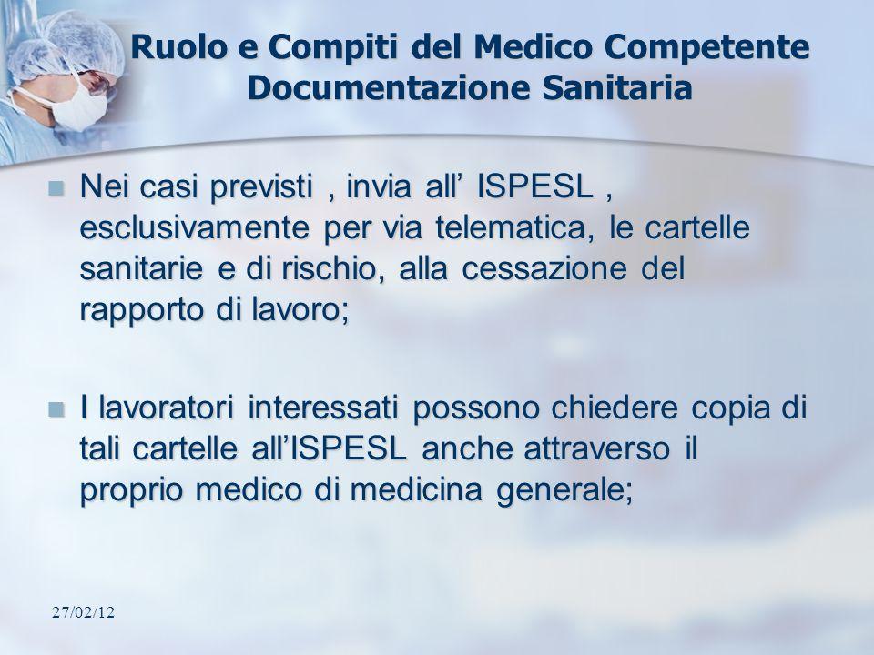 Ruolo e Compiti del Medico Competente Documentazione Sanitaria