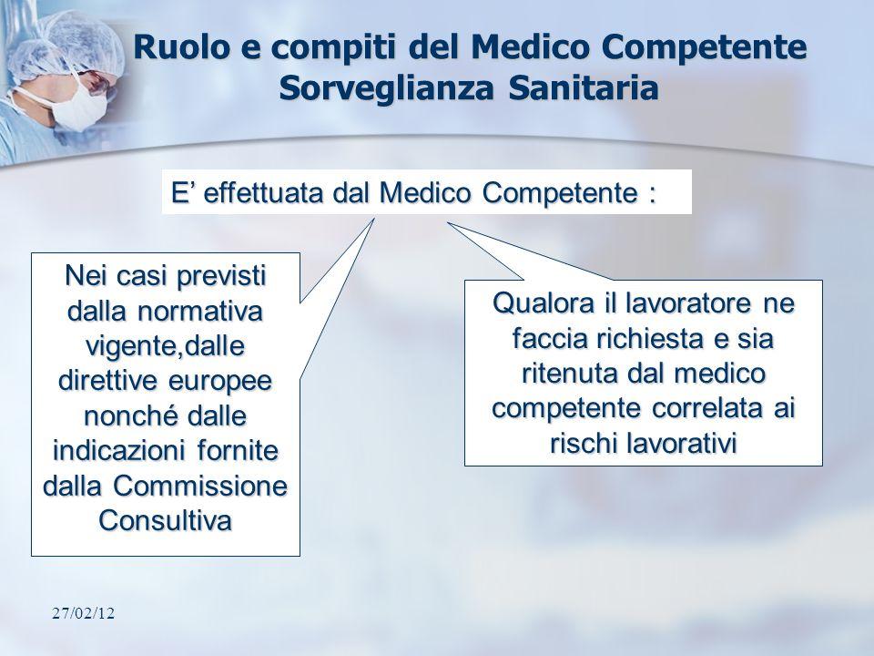 Ruolo e compiti del Medico Competente Sorveglianza Sanitaria