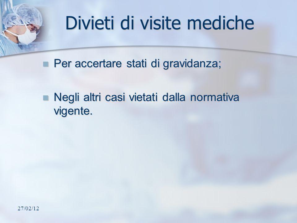 Divieti di visite mediche