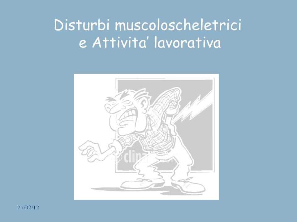 Disturbi muscoloscheletrici e Attivita' lavorativa