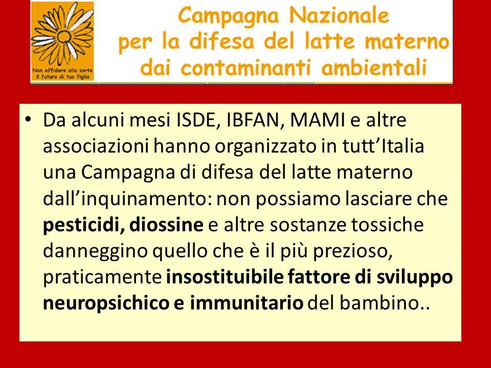 Da alcuni mesi ISDE, IBFAN, MAMI e altre associazioni hanno organizzato in tutt'Italia una Campagna di difesa del latte materno dall'inquinamento: non possiamo lasciare che pesticidi, diossine e altre sostanze tossiche danneggino quello che è il più prezioso, praticamente insostituibile fattore di sviluppo neuropsichico e immunitario del bambino..
