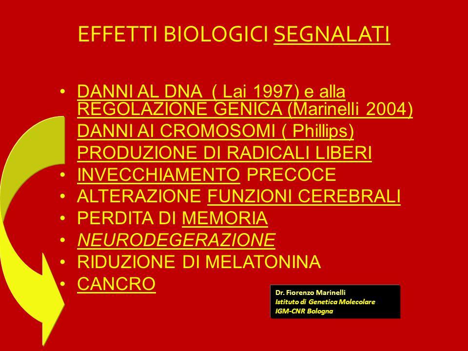 EFFETTI BIOLOGICI SEGNALATI