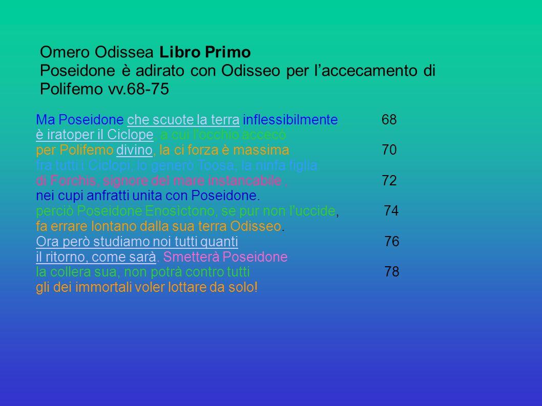 Omero Odissea Libro Primo Poseidone è adirato con Odisseo per l'accecamento di Polifemo vv.68-75