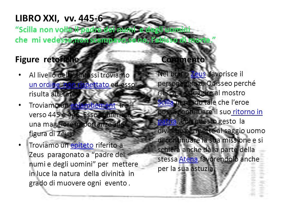 LIBRO XXI, vv. 445-6 Scilla non volle il padre dei numi e degli uomini che mi vedesse;non scampavo,se no, l'abisso di morte.