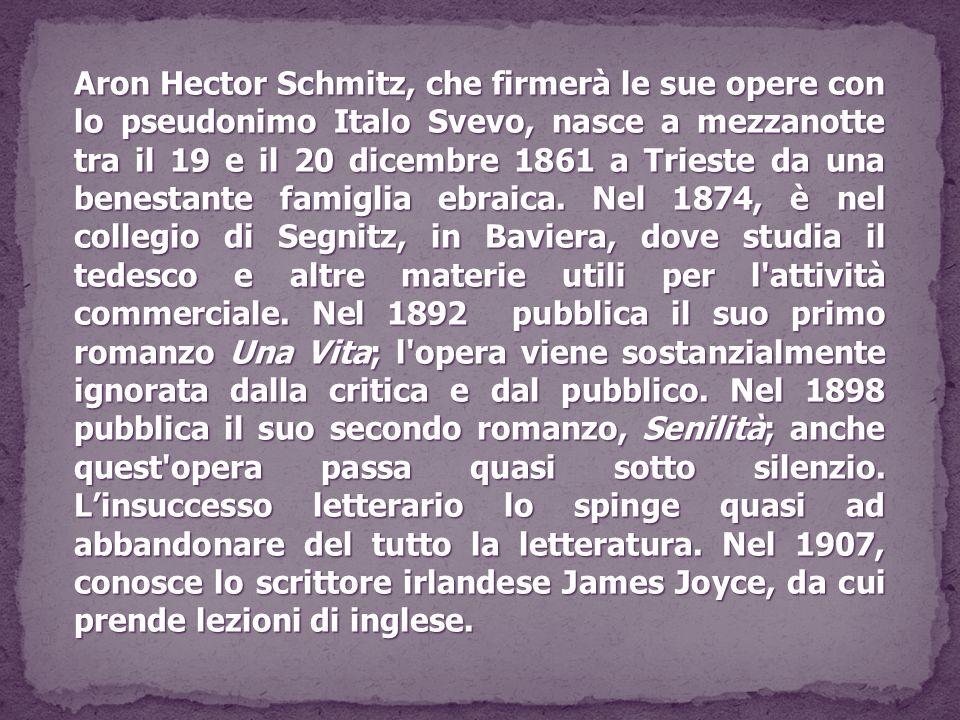 Aron Hector Schmitz, che firmerà le sue opere con lo pseudonimo Italo Svevo, nasce a mezzanotte tra il 19 e il 20 dicembre 1861 a Trieste da una benestante famiglia ebraica.
