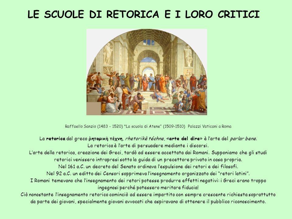 LE SCUOLE DI RETORICA E I LORO CRITICI