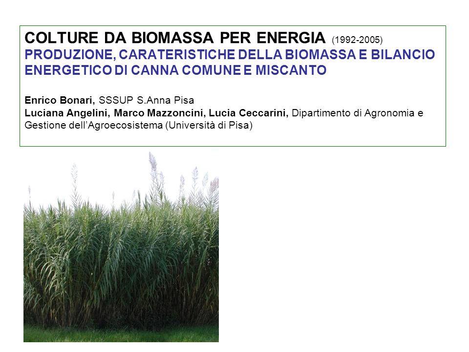 COLTURE DA BIOMASSA PER ENERGIA (1992-2005) PRODUZIONE, CARATERISTICHE DELLA BIOMASSA E BILANCIO ENERGETICO DI CANNA COMUNE E MISCANTO Enrico Bonari, SSSUP S.Anna Pisa Luciana Angelini, Marco Mazzoncini, Lucia Ceccarini, Dipartimento di Agronomia e Gestione dell'Agroecosistema (Università di Pisa)