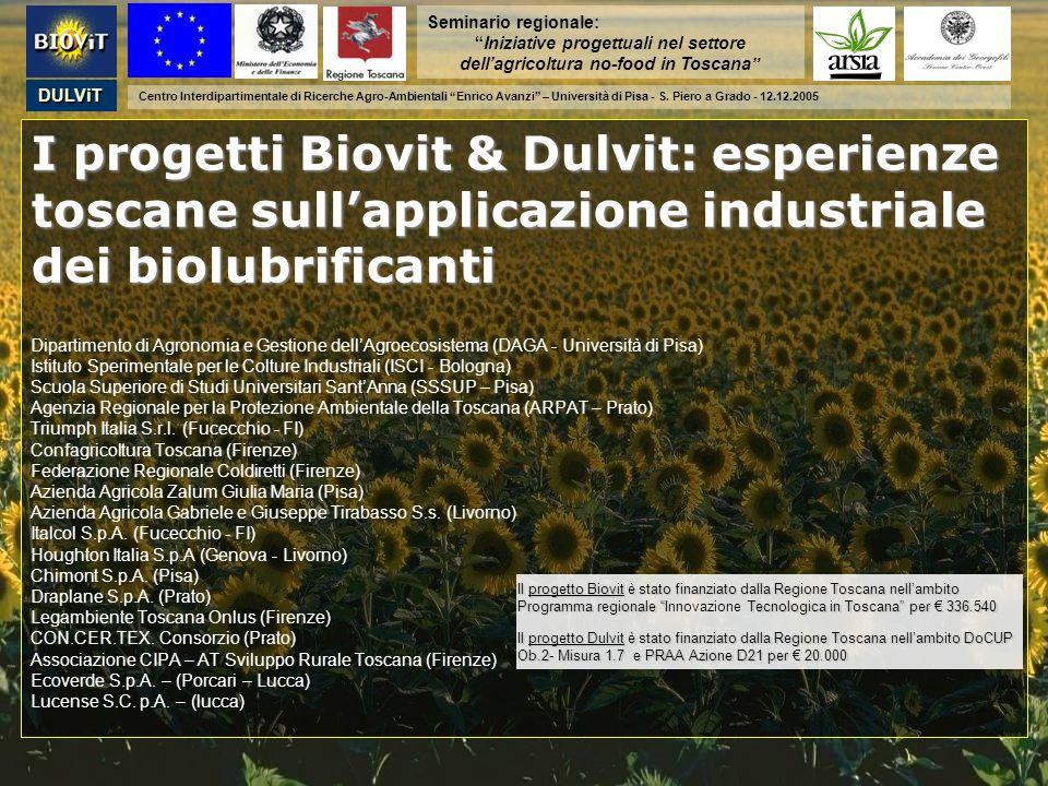 Seminario regionale: Iniziative progettuali nel settore dell'agricoltura no-food in Toscana DULViT.