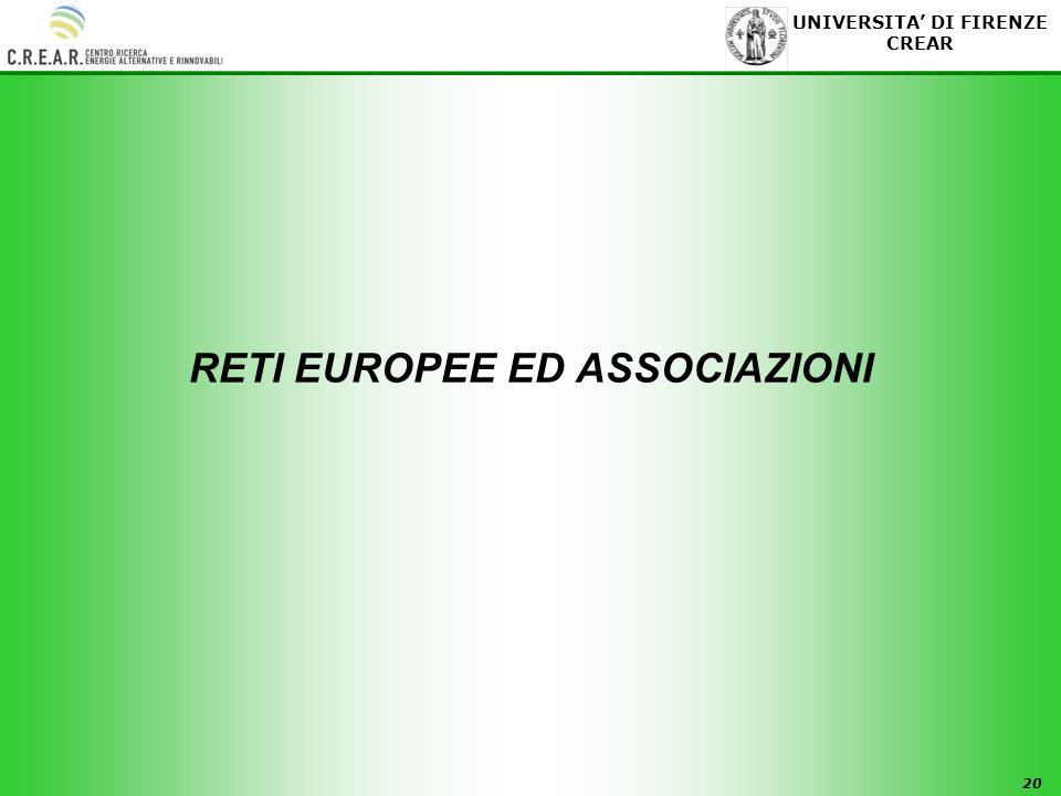 RETI EUROPEE ED ASSOCIAZIONI