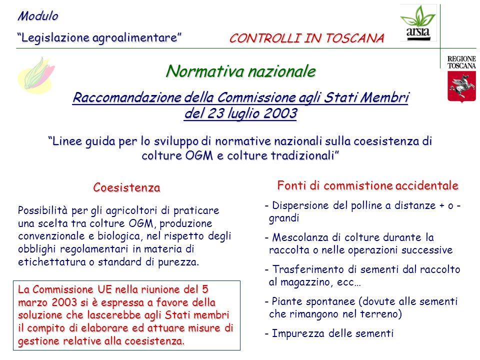 Modulo Legislazione agroalimentare CONTROLLI IN TOSCANA. Normativa nazionale. Raccomandazione della Commissione agli Stati Membri.
