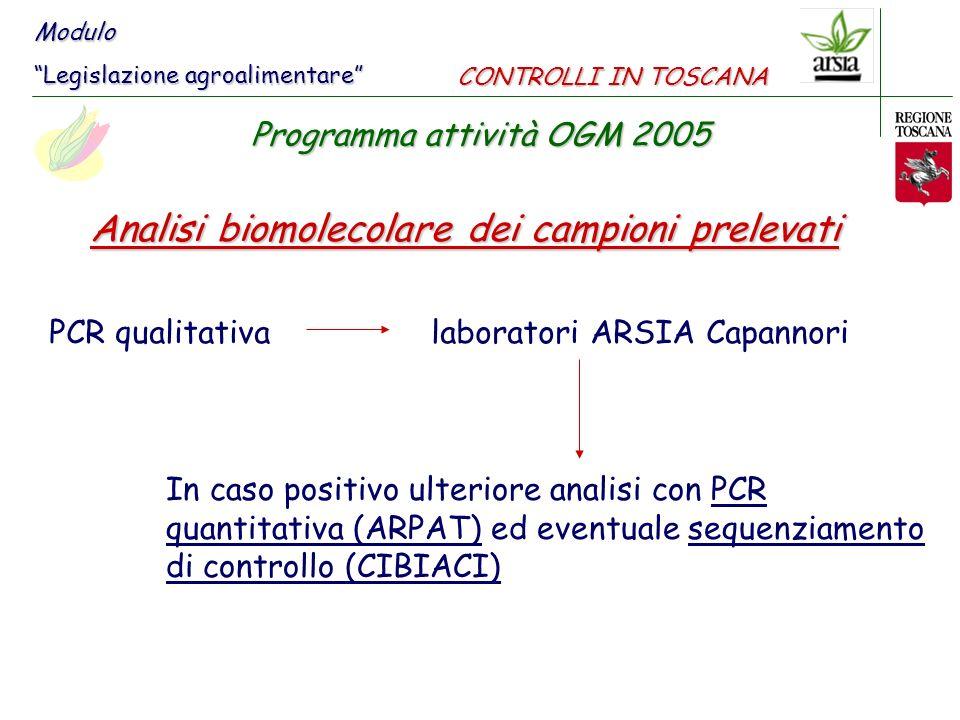 Analisi biomolecolare dei campioni prelevati