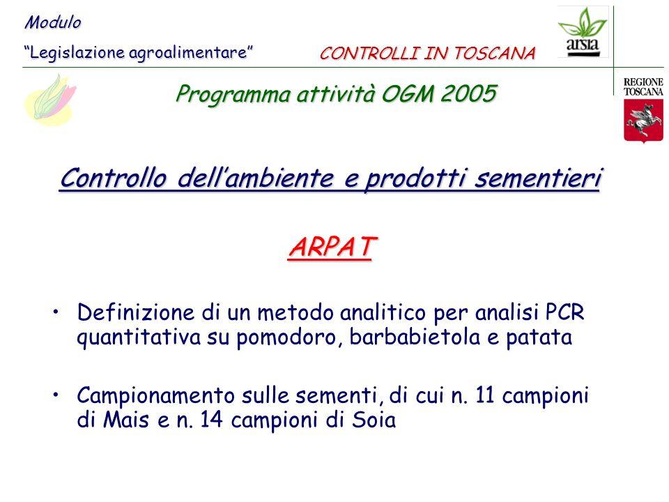 Controllo dell'ambiente e prodotti sementieri ARPAT
