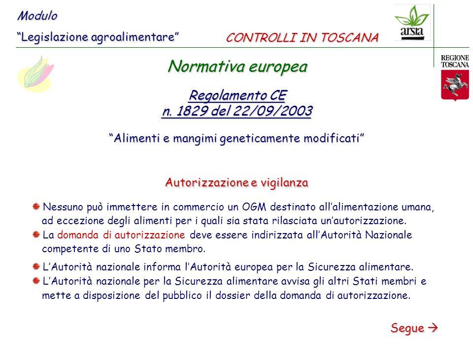 Normativa europea Regolamento CE n. 1829 del 22/09/2003 Modulo