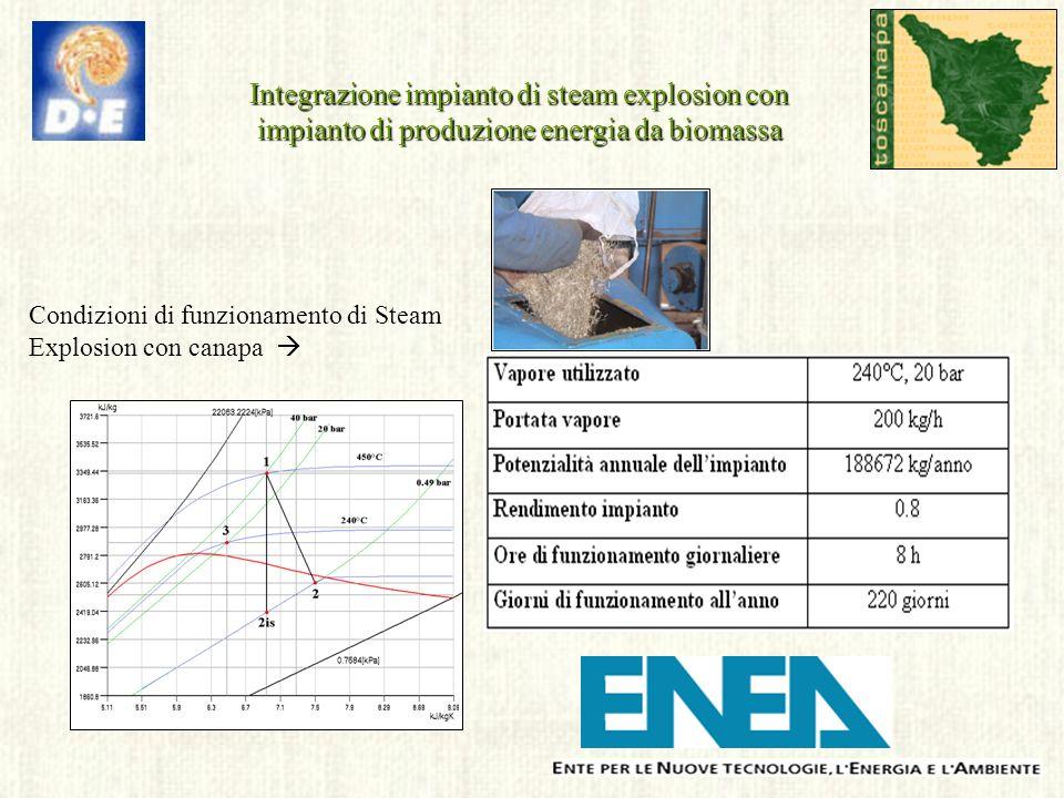 Integrazione impianto di steam explosion con impianto di produzione energia da biomassa