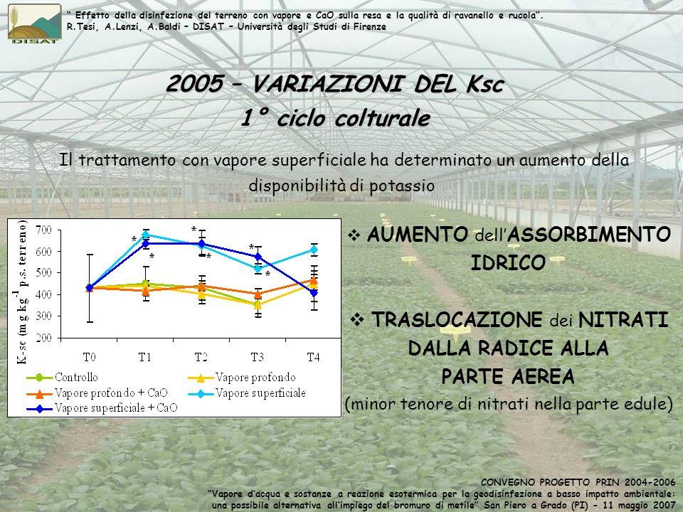 2005 – VARIAZIONI DEL Ksc 1° ciclo colturale