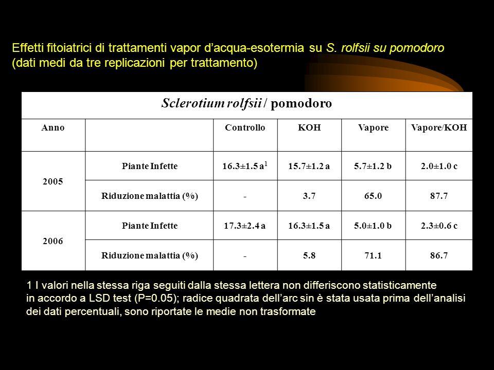 Sclerotium rolfsii / pomodoro Riduzione malattia (%)