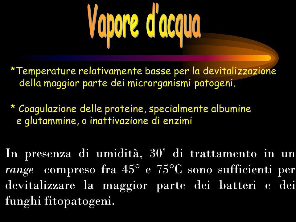 Vapore d'acqua *Temperature relativamente basse per la devitalizzazione. della maggior parte dei microrganismi patogeni.