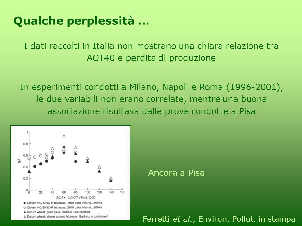 Qualche perplessità … I dati raccolti in Italia non mostrano una chiara relazione tra AOT40 e perdita di produzione.