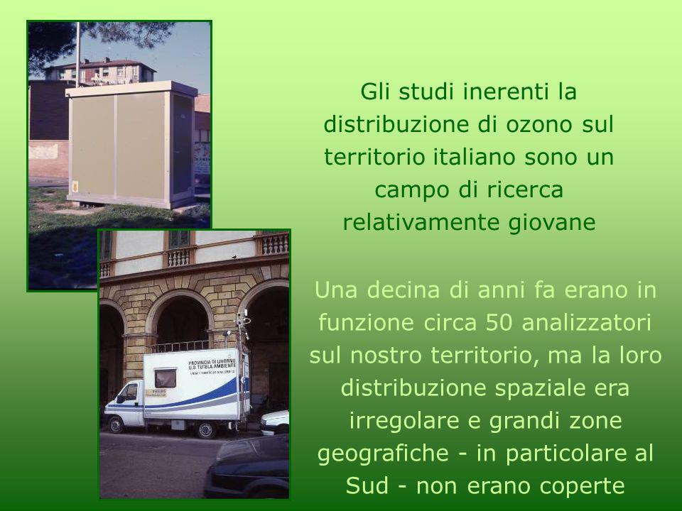 Gli studi inerenti la distribuzione di ozono sul territorio italiano sono un campo di ricerca relativamente giovane