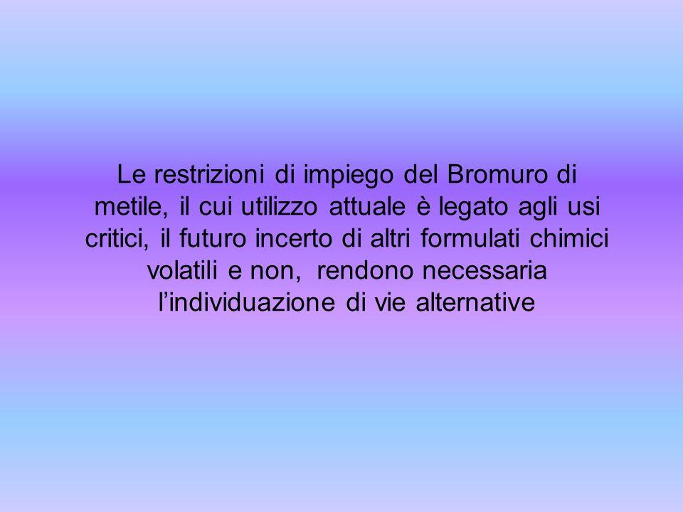 Le restrizioni di impiego del Bromuro di metile, il cui utilizzo attuale è legato agli usi critici, il futuro incerto di altri formulati chimici volatili e non, rendono necessaria l'individuazione di vie alternative