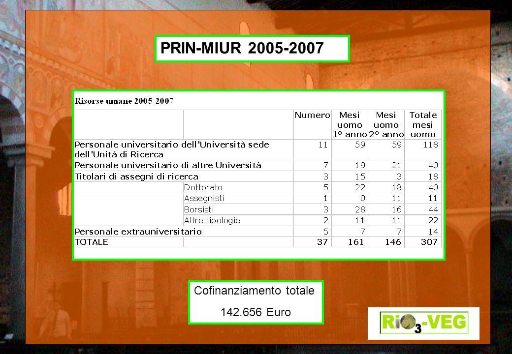 PRIN-MIUR 2005-2007 Cofinanziamento totale 142.656 Euro