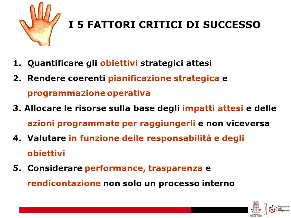 I 5 FATTORI CRITICI DI SUCCESSO