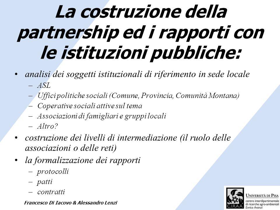 La costruzione della partnership ed i rapporti con le istituzioni pubbliche: