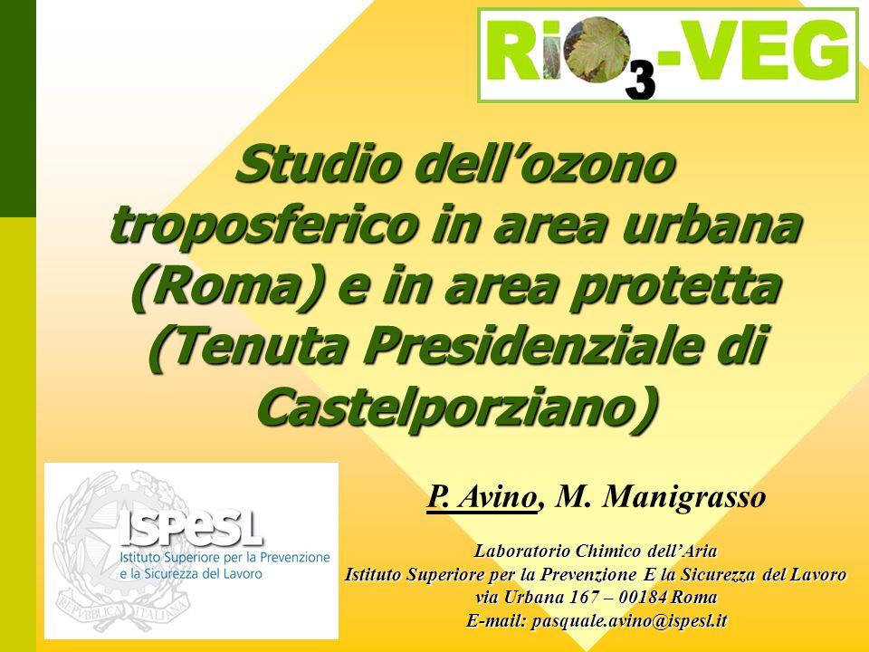 Studio dell'ozono troposferico in area urbana (Roma) e in area protetta (Tenuta Presidenziale di Castelporziano)