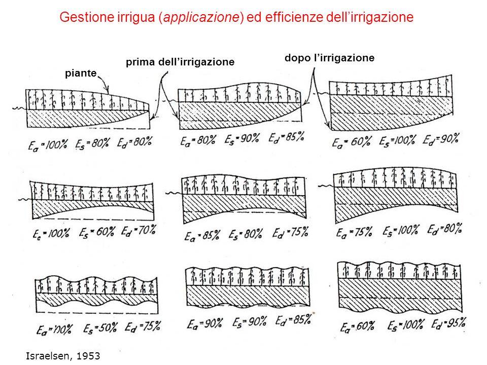 Gestione irrigua (applicazione) ed efficienze dell'irrigazione