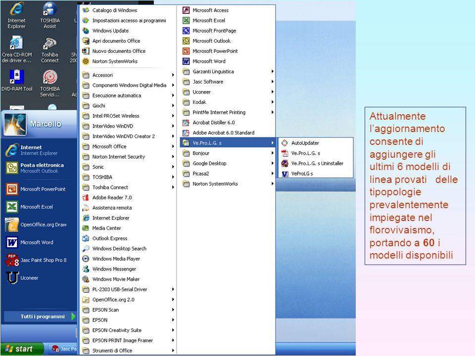 Attualmente l'aggiornamento consente di aggiungere gli ultimi 6 modelli di linea provati delle tipopologie prevalentemente impiegate nel florovivaismo, portando a 60 i modelli disponibili