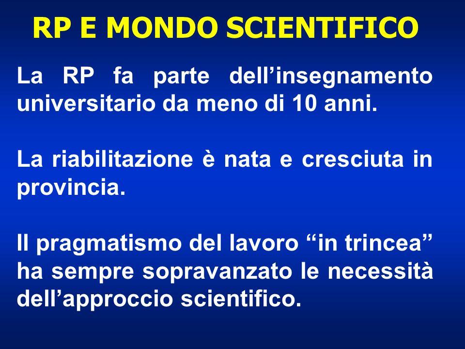 RP E MONDO SCIENTIFICO La RP fa parte dell'insegnamento universitario da meno di 10 anni. La riabilitazione è nata e cresciuta in provincia.