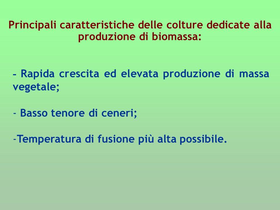 Principali caratteristiche delle colture dedicate alla produzione di biomassa: