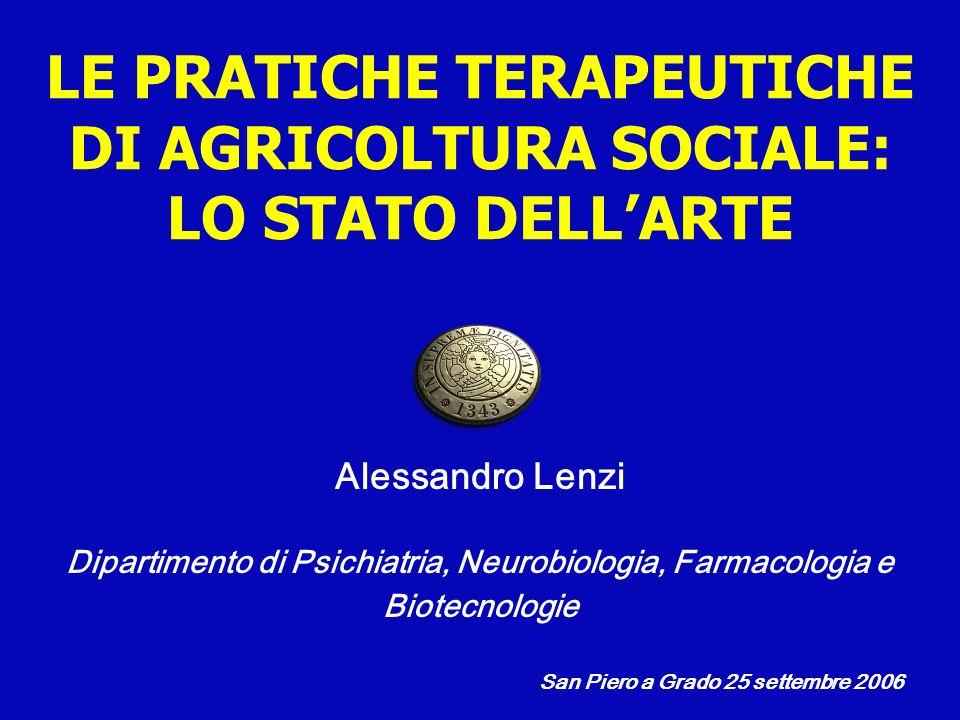 LE PRATICHE TERAPEUTICHE DI AGRICOLTURA SOCIALE: